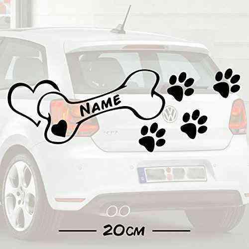 #2 Hunde Knochen Love mit Wunschtext | Name | Autoaufkleber | Hund | Haustier | Wunschtext