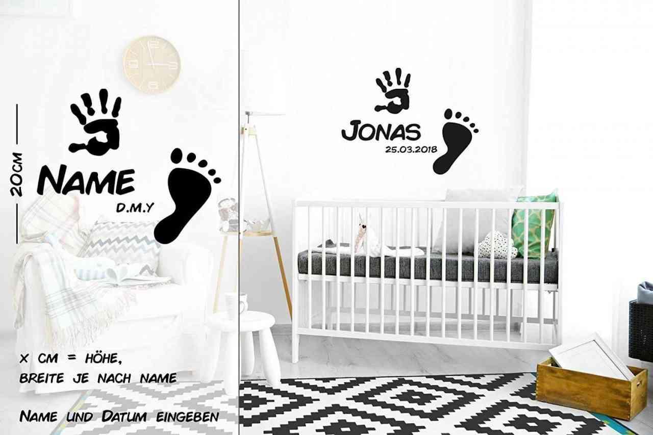 Baby Fuß und Hand Abdruck mit Name und Datum | Wandtattoo
