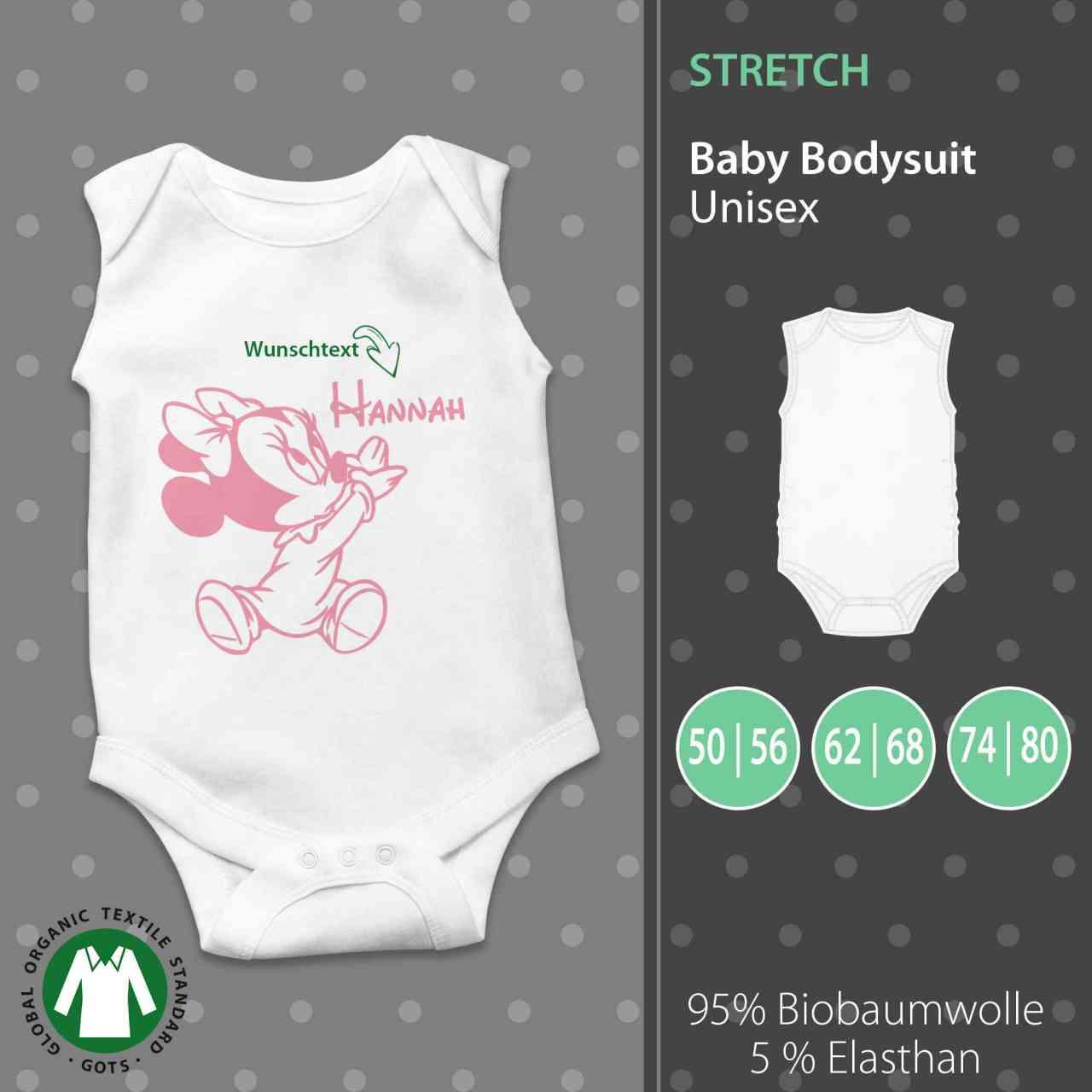 Baby Body Unisex | Micky Maus | Minnie Maus | Wunschtext | individuell | Geschenk | pickNstick