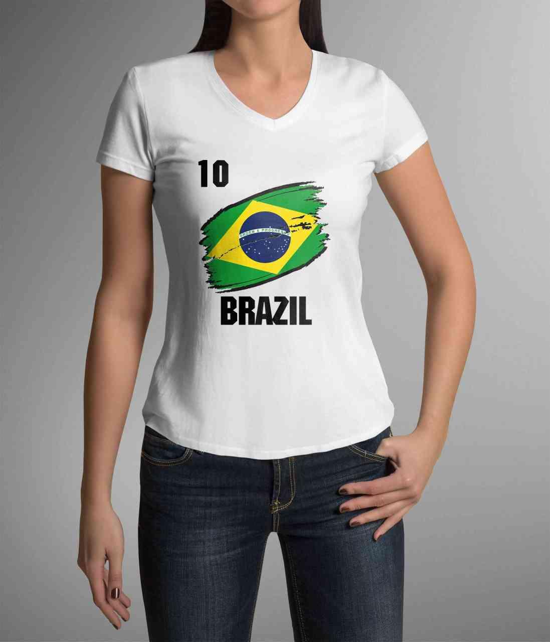 Brazil | Brazilien | Männer oder Frauen Trikot T - Shirt mit Wunsch Nummer + Wunsch Name | WM 2018