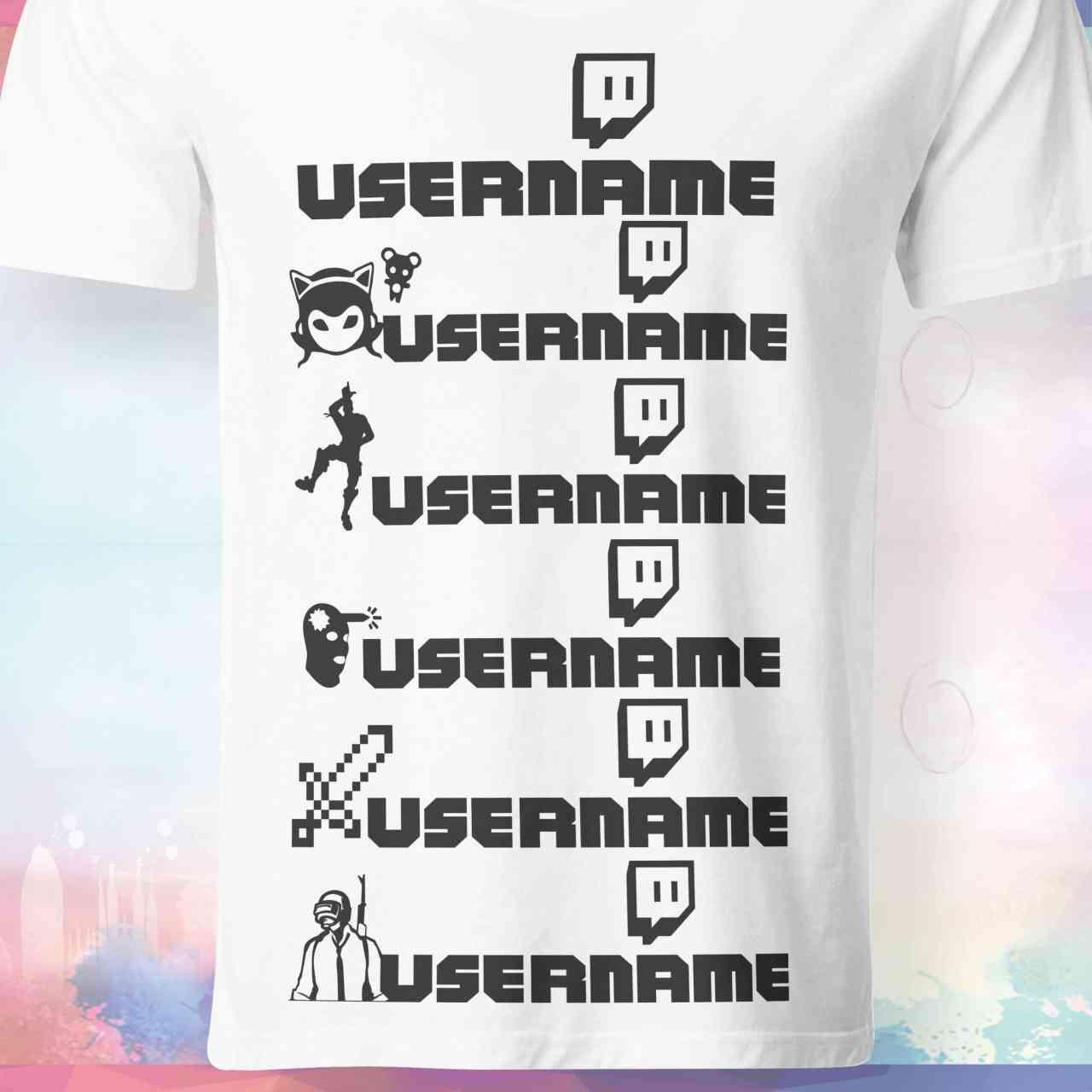 Twitch T-Shirt mit Username   versch. Game Symbole