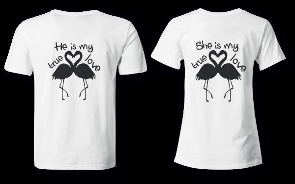 Flamingo true love - Partner Look | T-Shirt - Funshirt - Shirt | Frau und Mann
