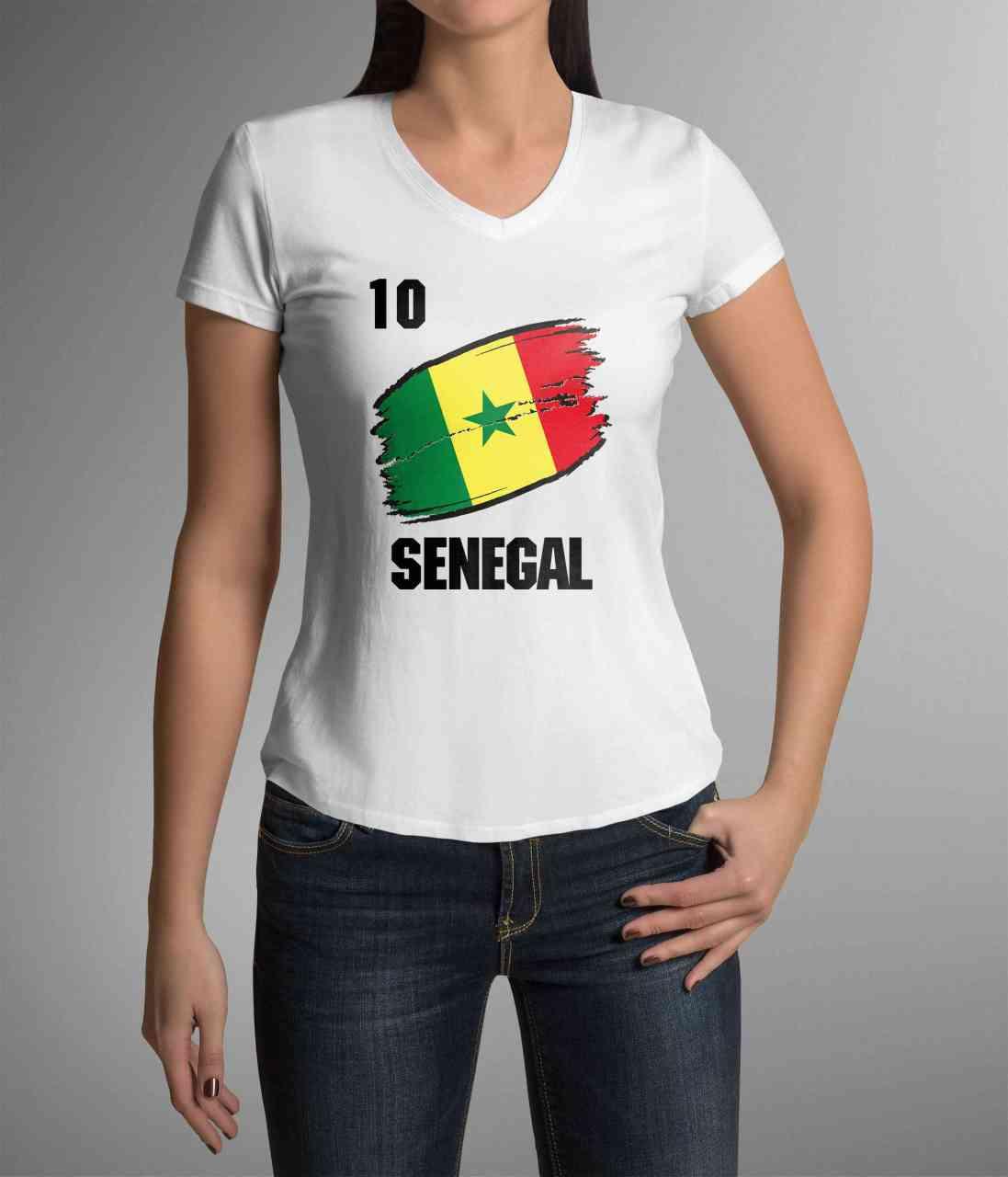 Senegal | Männer oder Frauen Trikot T - Shirt mit Wunsch Nummer + Wunsch Name | WM 2018