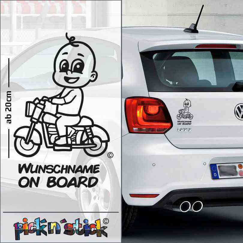 Biker - Motorrad - Baby on Board | individuell mit Name | Wunschtext | Autoaufkleber | Lustig