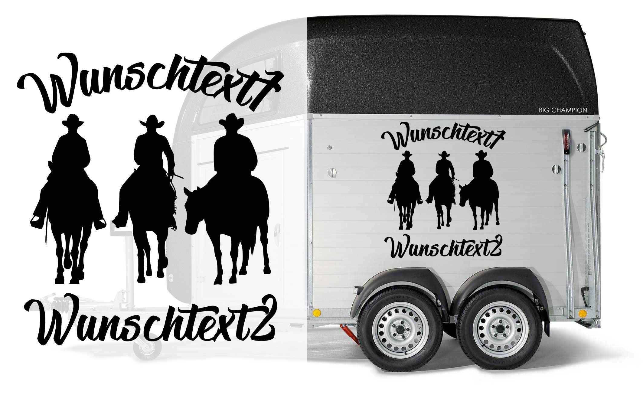 Trio Western Riding Aufkleber Individuell Mit 2x Wunschtext Auto Anhänger Aufkleber Pferde