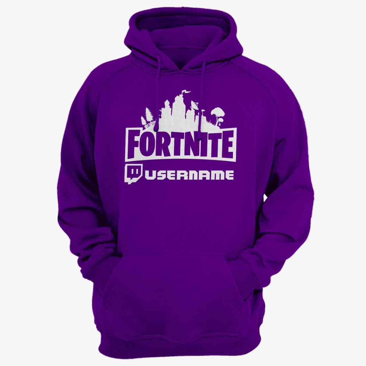 Fortnite Hoodie mit Twitch Name | Battle Royal | Pulli | Unisex | personalisiert - Lila - Purple
