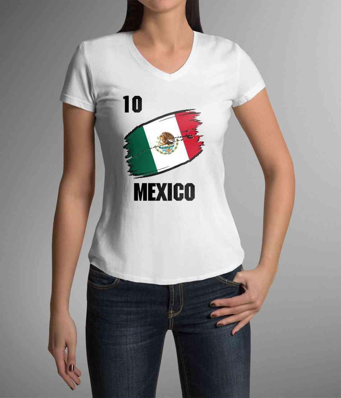 Mexico | Männer oder Frauen Trikot T - Shirt mit Wunsch Nummer + Wunsch Name | WM 2018
