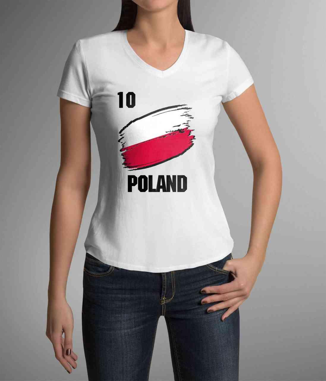 Poland | Polen | Männer oder Frauen Trikot T - Shirt mit Wunsch Nummer + Wunsch Name | WM 2018