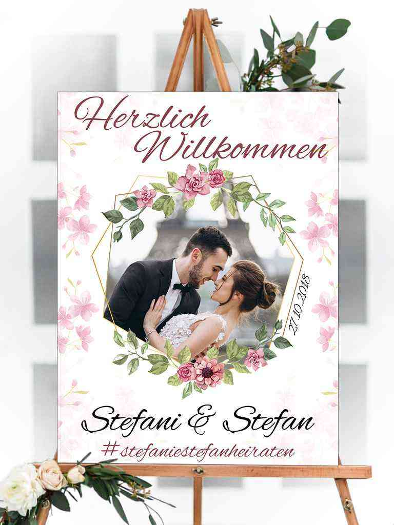 Willkommens Schild mit Foto - Hochzeit, Party, Geburtstag, Feier | 100x75cm | personalisiert, mit Text & Foto