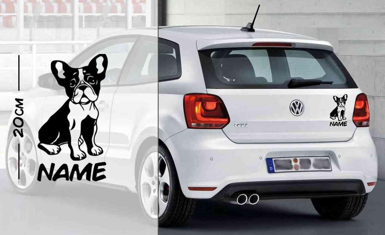 Französische Bulldogge #3 | Tier | Wunschtext | Autoaufkleber | Hund