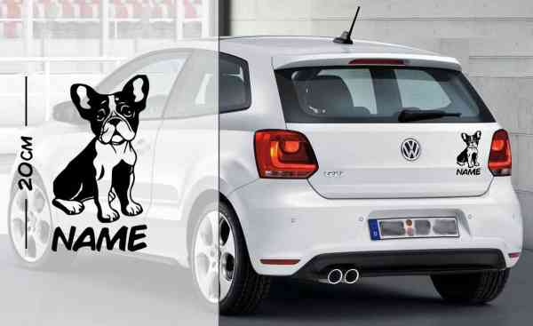 Französische Bulldogge #3 | Tier | Wunschtext | Auto Aufkleber | Hund