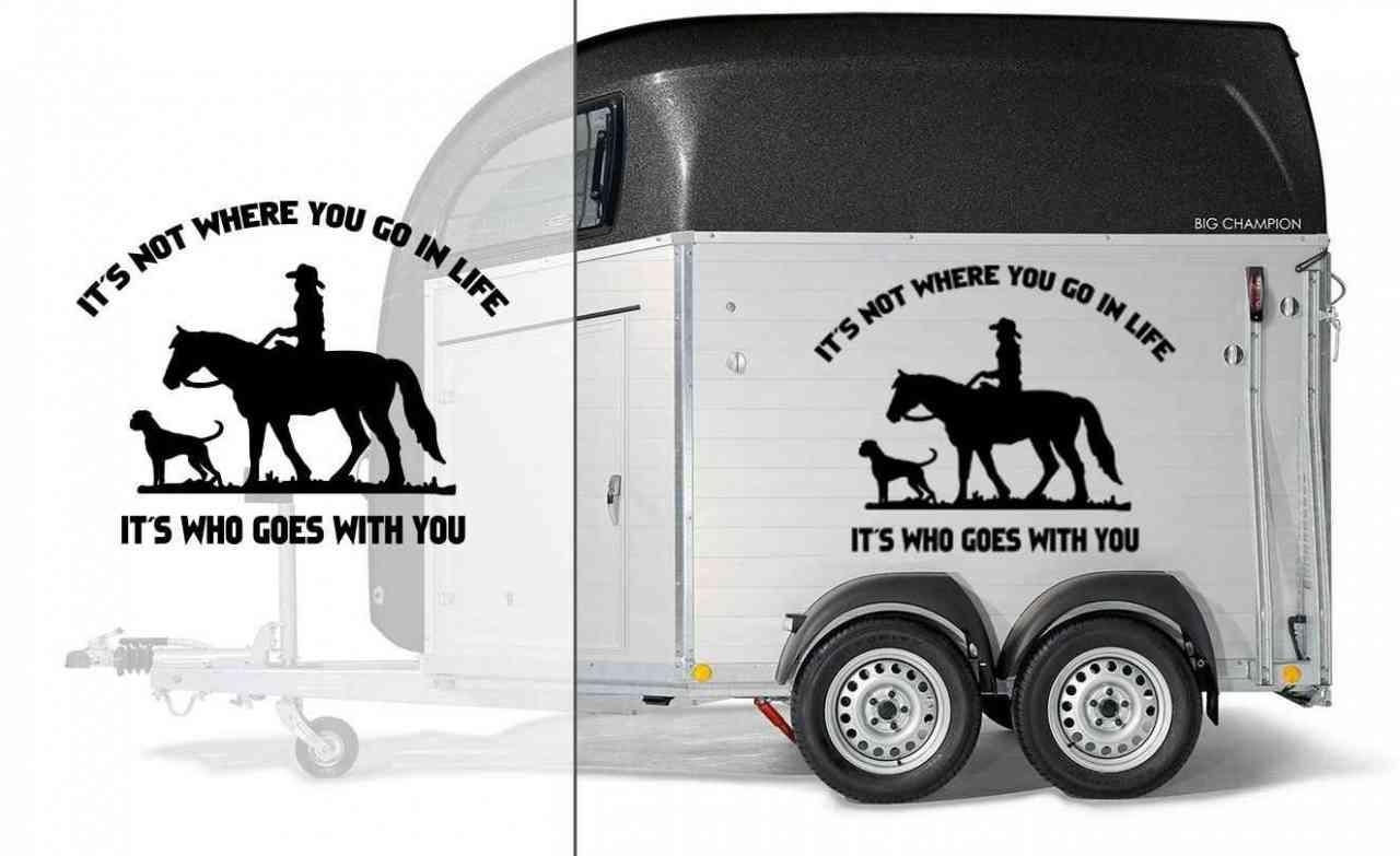 Pferd & Hund mit Spruch | Pitbull | Autoaufkleber | Pferde Anhänger Aufkleber | It´s not where you