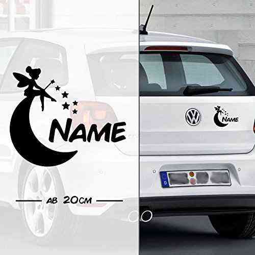 Fee * Fairy * Sternchen und Mond mit Name | Auto Aufkleber | Elfe Fee Elfen Feen | on Board | Wunsch