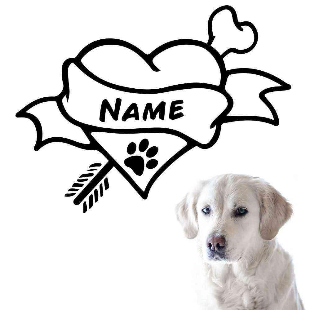 Hunde Knochen Motiv #4 | Wandtattoo | Napf Fressecke Aufkleber | Hund Motiv | Mit Name | Wunschtext
