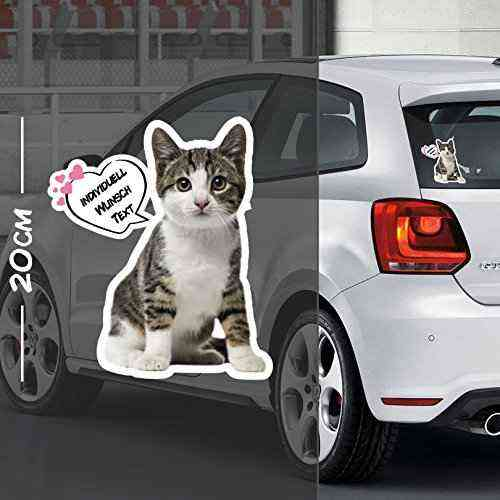 Katze Aufkleber Motiv #1 | Druck & Cut mit oder ohne Laminat | Individuell mit Wunschtext