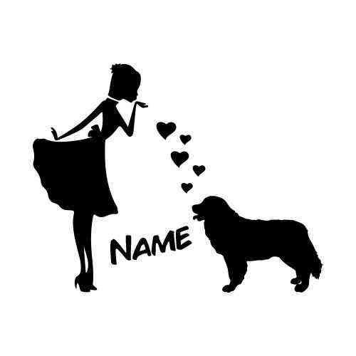 Prinzessin Berner Sennenhund Herz | Dog | Wunschtext | Auto Aufkleber | Decal