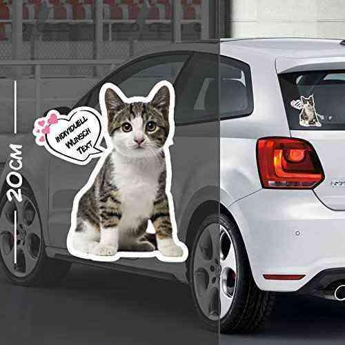 Katze Aufkleber Motiv #1   Druck & Cut mit oder ohne Laminat   Individuell mit Wunschtext