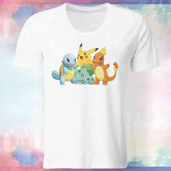 "Pokemon Go Shirt ""Pikachu und Starter Pokemons"" mit Trainer Name und Code 