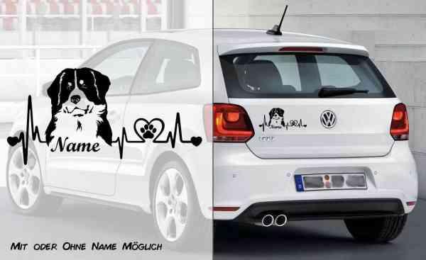 Berner Sennenhund Heartbeat 1 | Hunde Aufkleber | Auto Aufkleber | Heckscheibe Aufkleber | Wunschtex