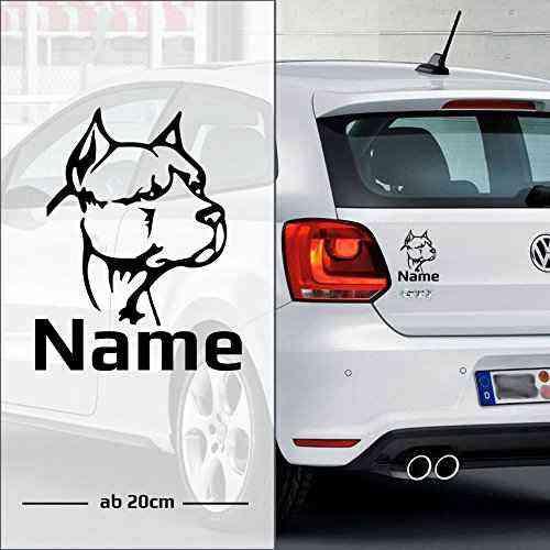 Pitbull | Hund | Wunschtext | Autoaufkleber | pickNstick | Bulldog mit Name