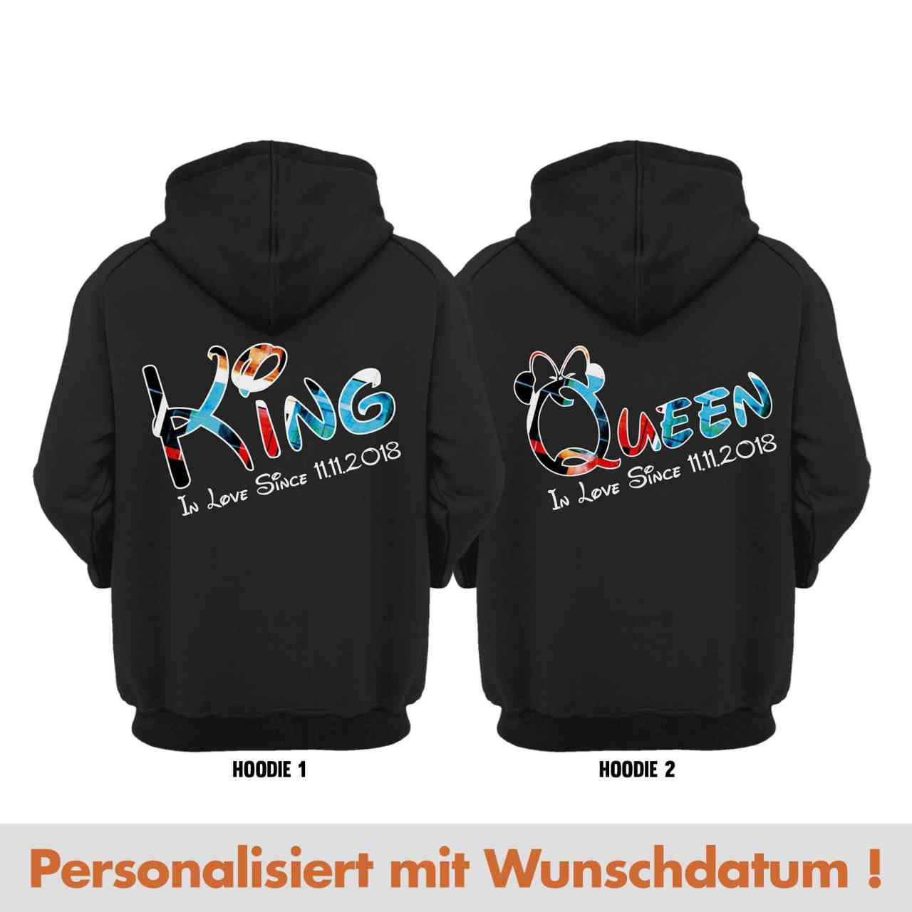 King & Queen Partnerlook Hoodie Pulli mit Datum | personalisiert