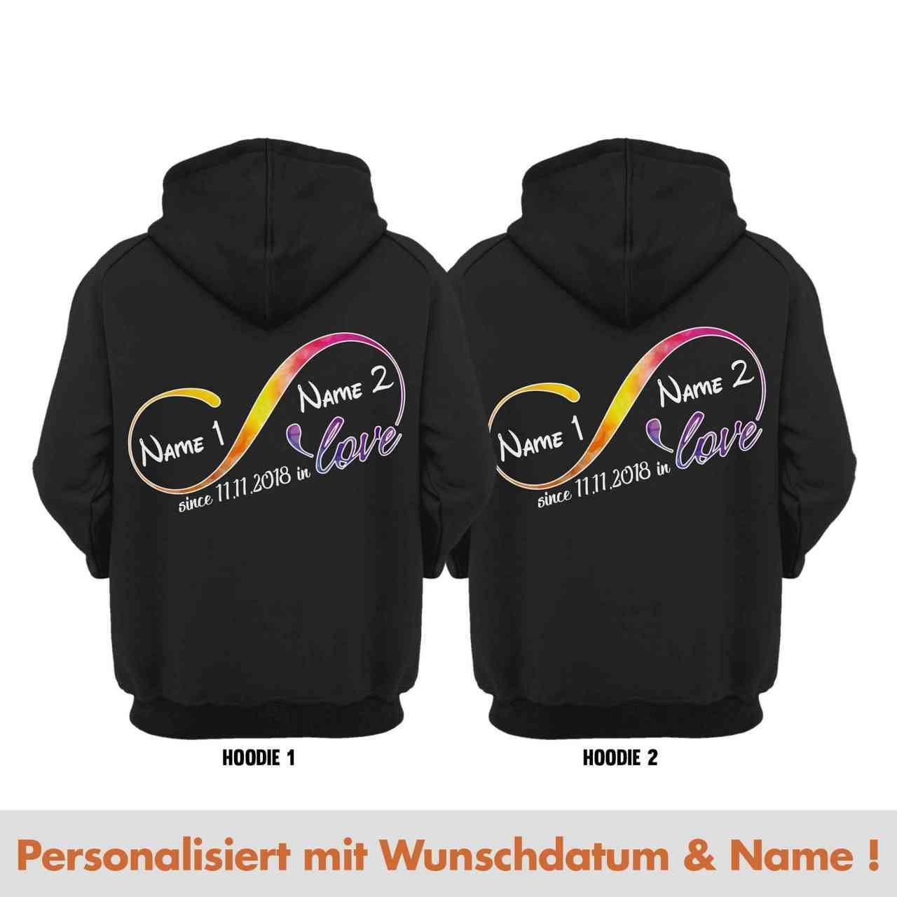 Infinity in Love Partnerlook Hoodie Pulli mit Datum und Namen | personalisiert