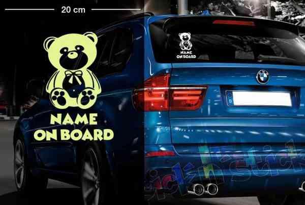 Teddy Bär #2 | Baby - Name On Board | Wunschtext | Auto Aufkleber | Lustig | Baby On Board