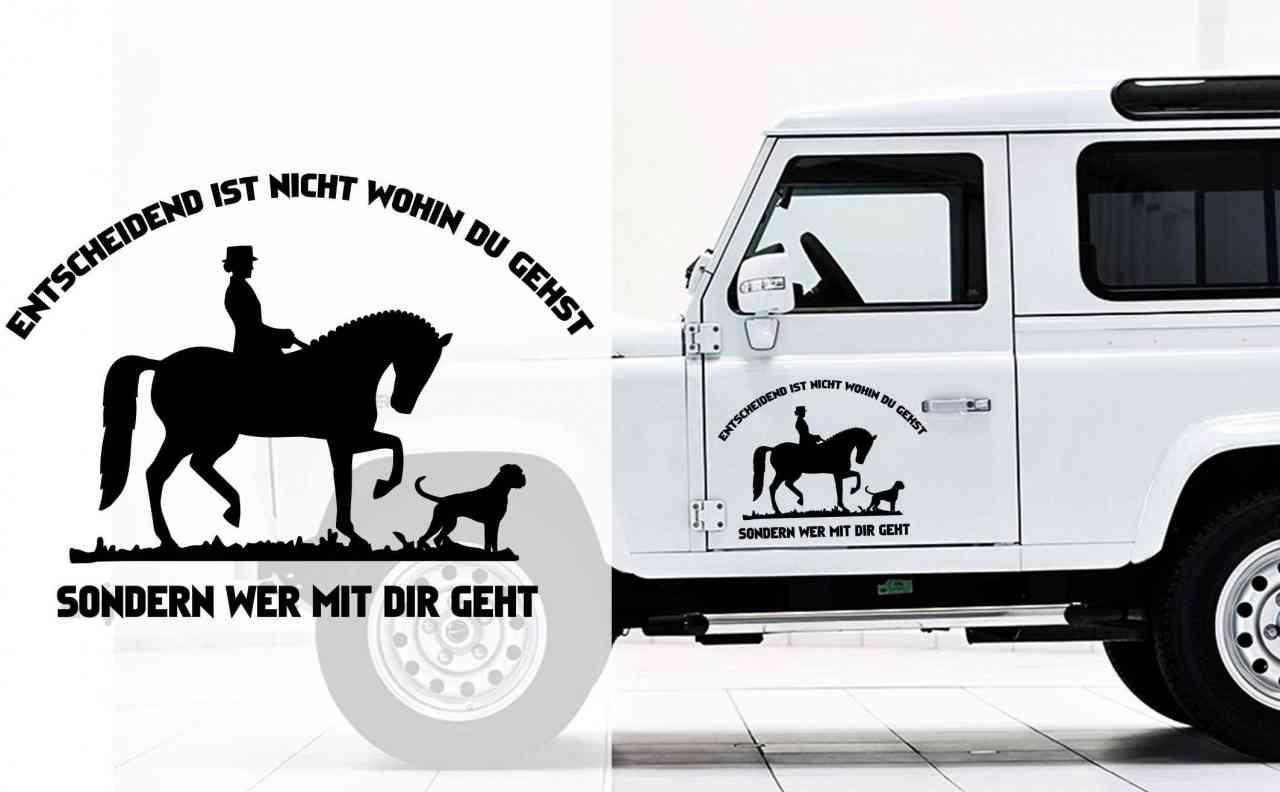 Entscheidend ist nicht wohin du gehst, sonder wer mit dir geht - Auto Anhänger Aufkleber | Pferd