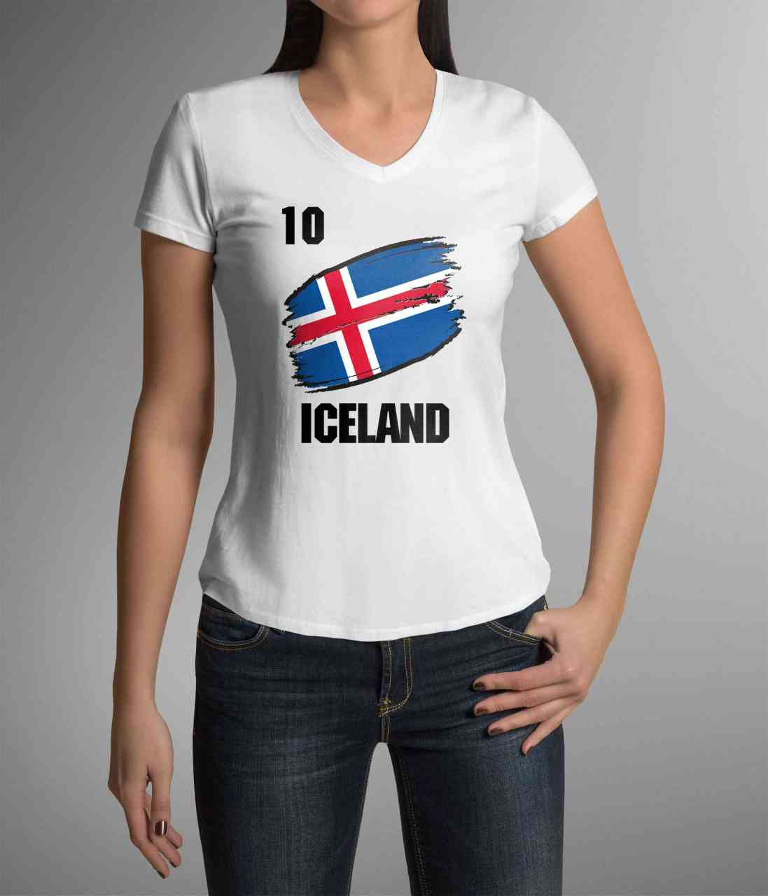 Iceland | Island | Männer oder Frauen Trikot T - Shirt mit Wunsch Nummer + Wunsch Name | WM 2018