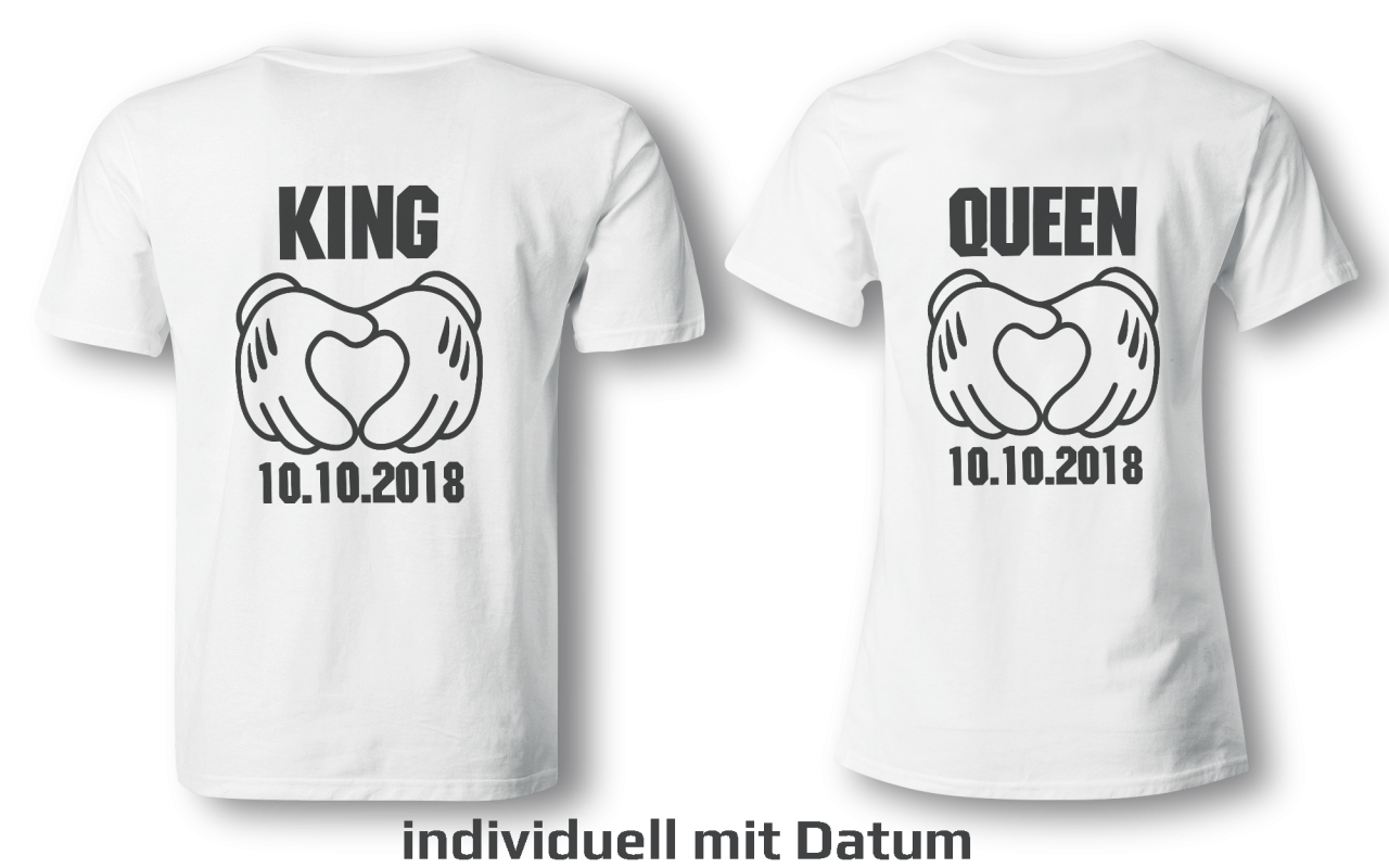 King & Queen mit Datum - Partner Look | T-Shirt - Funshirt - Shirt | Frau und Mann